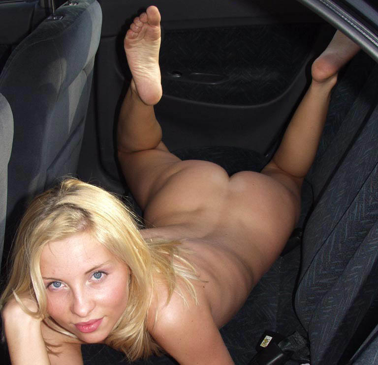 real women driving car nude on video
