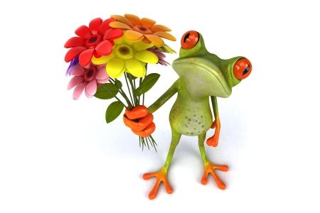 frog-3d-funny-flowers-lyagushka