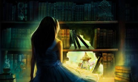 art-girl-spin-hair-shoulders-blue-dress-bookcase-books-watches-statue-hourglass-hole-light